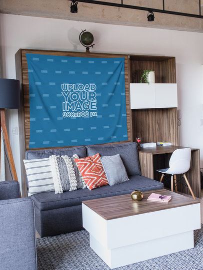 Wall Tapestry Mockup Hanging in a Modern Studio 27408