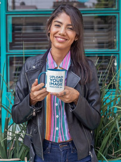 11 oz Two Toned Mug Mockup of a Smiling Woman Wearing a Leather Jacket 27835