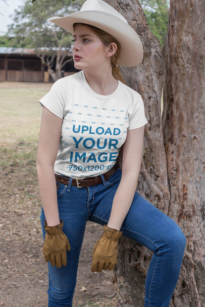 Mockup Featuring a Country Woman Wearing a Crewneck T-Shirt Outdoors 27967