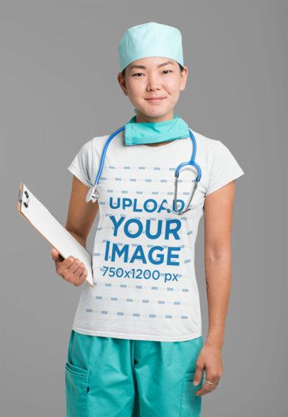 T-Shirt Mockup Featuring a Kind-Looking Nurse 27463