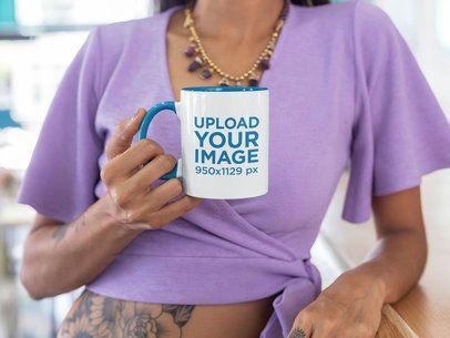 11 oz Color Rim Mug Mockup of a Tattooed Woman Leaning on a Bar 27841