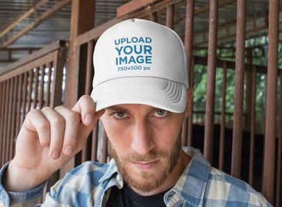 Trucker Hat Mockup Featuring a Modern Cowboy 27964