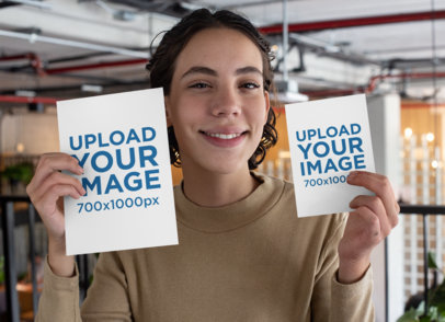 Mockup of a Smiling Woman Holding an A4 Flyer and an A5 Flyer 27432