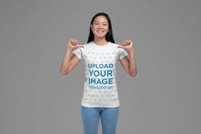 Mockup of a Woman Proudly Showing off Her T-Shirt 27849
