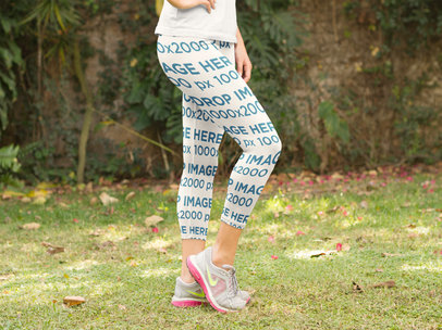 Leggings Mockup of a Woman Standing in her Backyard a8353