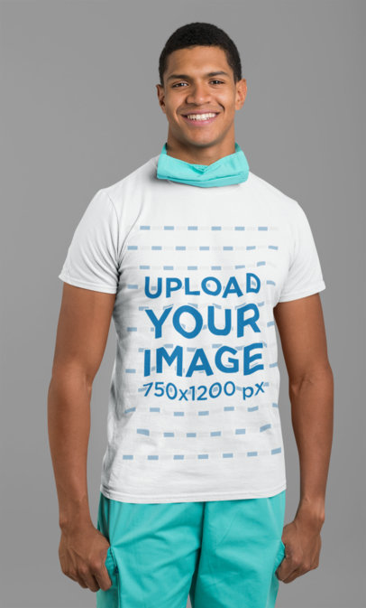 T-Shirt Mockup Featuring a Happy Male Nurse against a Solid Color Background 27471