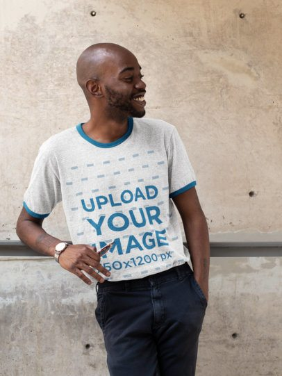 Ringer T-Shirt Mockup of a Stylish Man Leaning on His Arm 27898