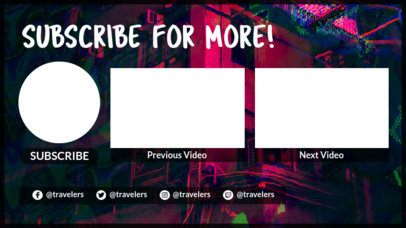 Abstract YouTube End Card Maker with Neon Colors 1429c