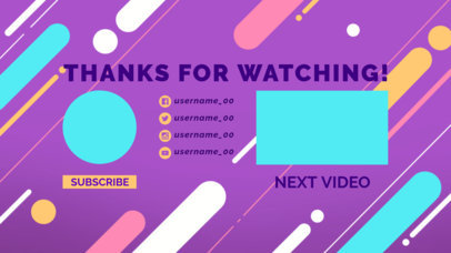 Modern YouTube End Screen Design Template with Rounded Shapes 1434