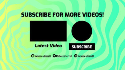 Youtube End Card Template with Psychedelic Lines 1432c