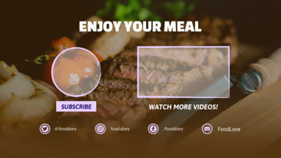 YouTube End Screen Maker Featuring a Meat Dish in the Background 1433a