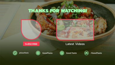 Food-Themed YouTube End Card Template 1433c
