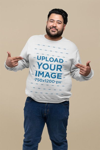 Plus Size Sweatshirt Mockup of a Bearded Man Pointing at Himself 27779