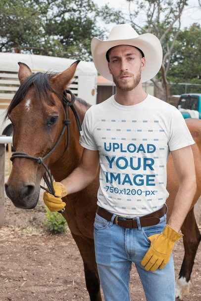T-Shirt Mockup of a Cowboy with a Horse in a Ranch 27971