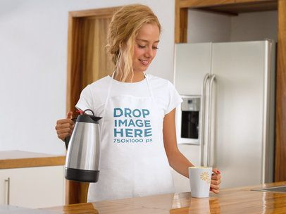 Woman Pouring Herself a Cup of Coffee Apron Mockup a7812