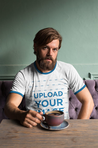 Ringer T-Shirt Mockup of a Bearded Man Drinking a Coffee 27913