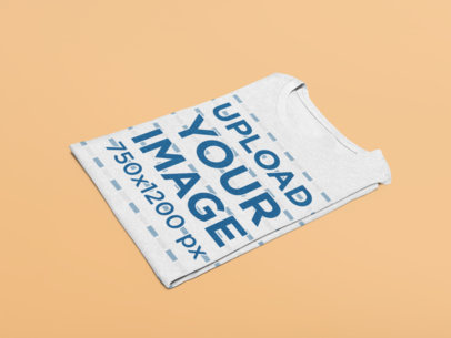 Mockup of a Folded Heather T-Shirt in a Minimalistic Setting 27677