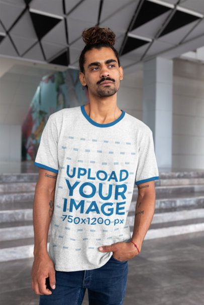 Ringer T-Shirt Mockup of a Man with One Hand in His Pocket 27921