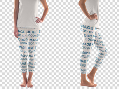 Woman in Leggins Over a Flat Backdrop Clothing Mockup b8336