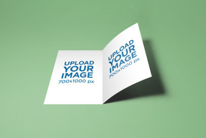 Mockup of an A5 Bifold Brochure on a Plain Color Surface 29-el