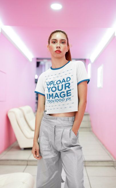 Crop Top Ringer Tee Mockup Featuring a Freckled Woman in a Pink Hall 27257
