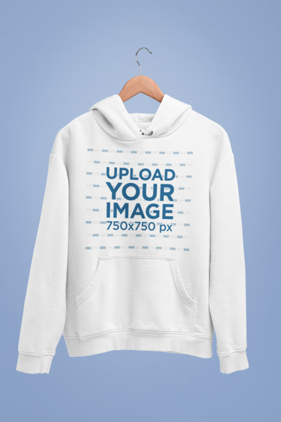Mockup of a Pullover Hoodie Hanging Against a Simple Setting 27731