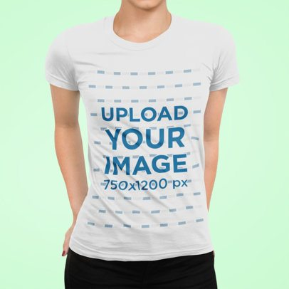 T-Shirt Mockup Featuring a Woman with Hands on Her Back at a Studio 89-el