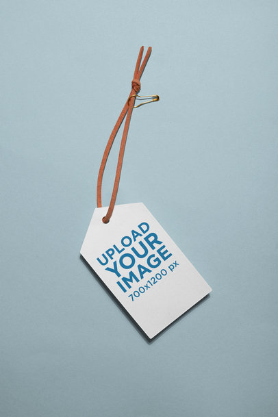Minimalistic Brand Tag Mockup with a Leather Lace 27657