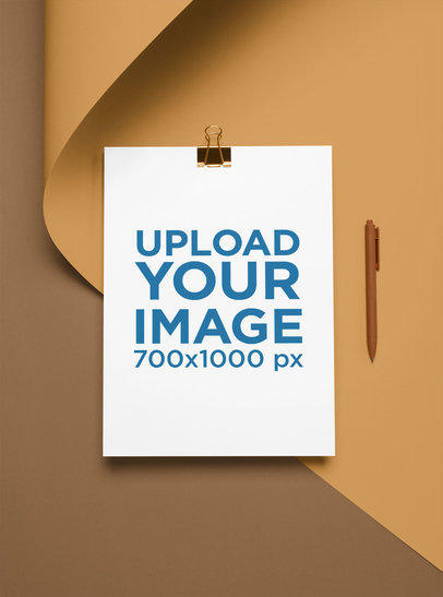 A4 Letterhead Mockup with a Binder Clip and a Pen 27209