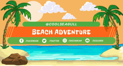 Beach-Themed Twitch Banner Maker 1450b