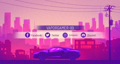 Retrowave Aesthetic Twitch Banner Maker 1502d
