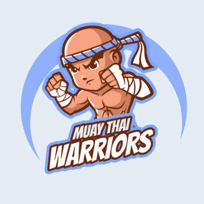 Logo Template for a Fighting Game Featuring a Muay-Thai Warrior 1872e