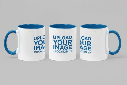 Mockup of a Two Toned Mug with a Three Angles View 27890