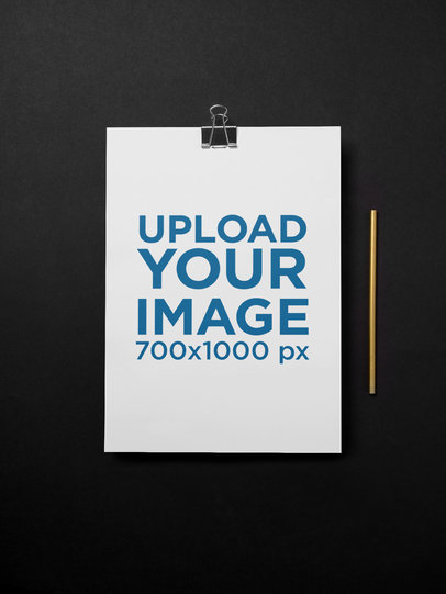 Minimalist A4 Letterhead Mockup with a Black Background 27205