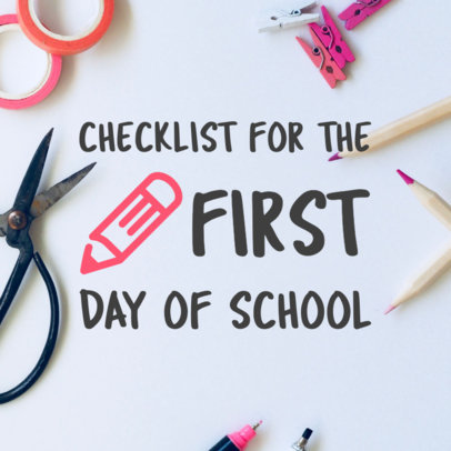 Pinterest Pin Maker of Back To School Checklist