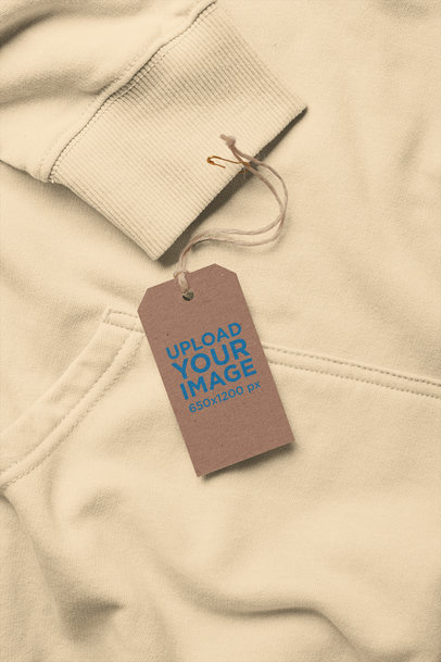 Brand Tag Mockup Attached to a Hoodie Sleeve 27661