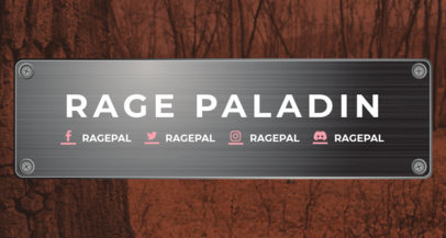 Twitch Banner Template Featuring a Metal Plaque Against a Wooden Surface 1455e