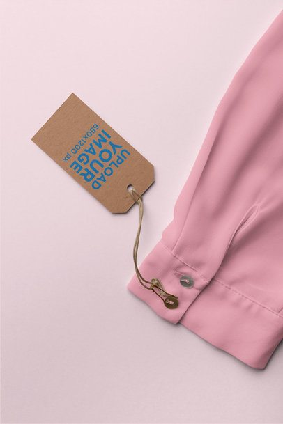 Clothing Tag Mockup Attached to a Long Sleeve Blouse 27654