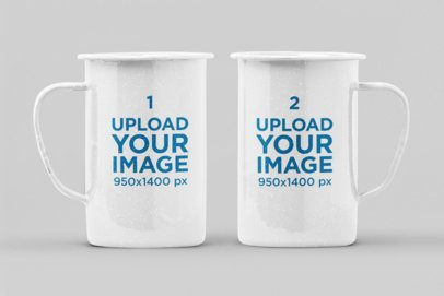 Mockup Featuring Two 21 oz Enamel Mugs Against a Plain Color Background 28270