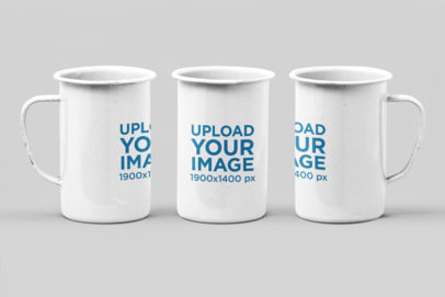 Mockup of Three 21 Oz Enamel Mugs in Different Positions Against a Plain Backdrop 27884