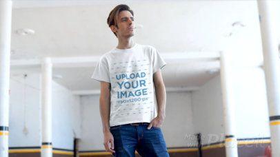 T-Shirt Video Featuring a Man at an Empty Parking Lot 12864