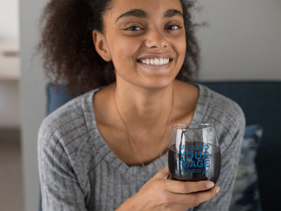 Stemless Wine Glass Mockup Featuring a Smiling Woman with Kinky Hair 27942