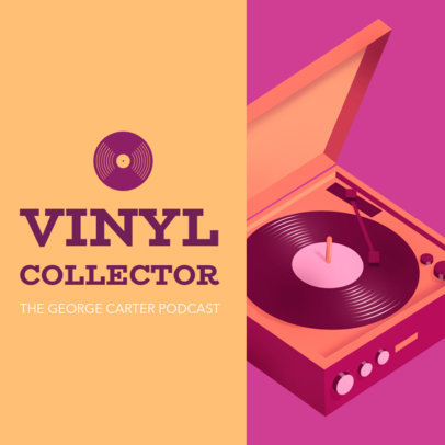 Music-Related Podcast Cover Maker Featuring a Turntable Clipart 1493a