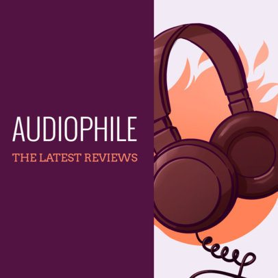 Music Review Podcast Cover Template with Headphones Illustration 1493e