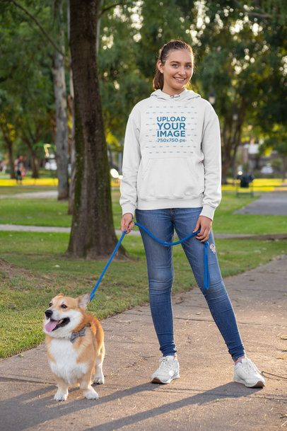 Pullover Hoodie Mockup of a Woman Walking Her Dog at the Park 28041