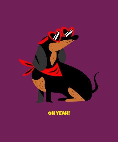 Dachshund Dog with Heart-Shape Glasses T-Shirt Design Maker 1512f