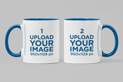 Mockup of Two Two-Toned 11 oz Mugs Against a Plain Background 28266