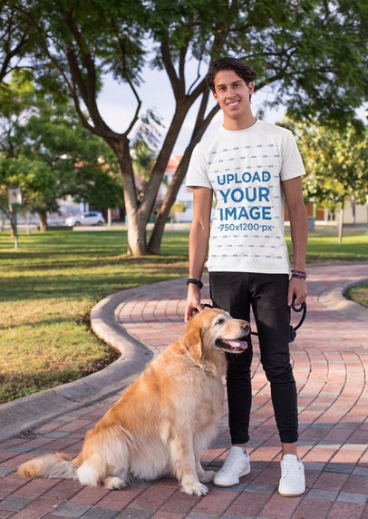 Shirt Mockup of a Man Taking a Walk with His Dog at a Park 28052
