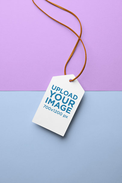 Clothing Tag Mockup with a Two-Colored Background 27648