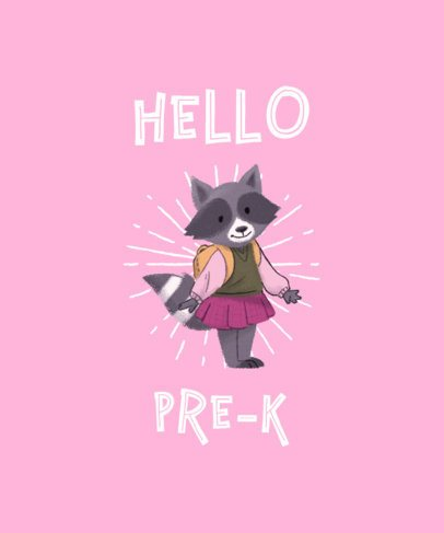 Pre-Kindergarten T-Shirt Design Maker with a Female Raccoon 1520e